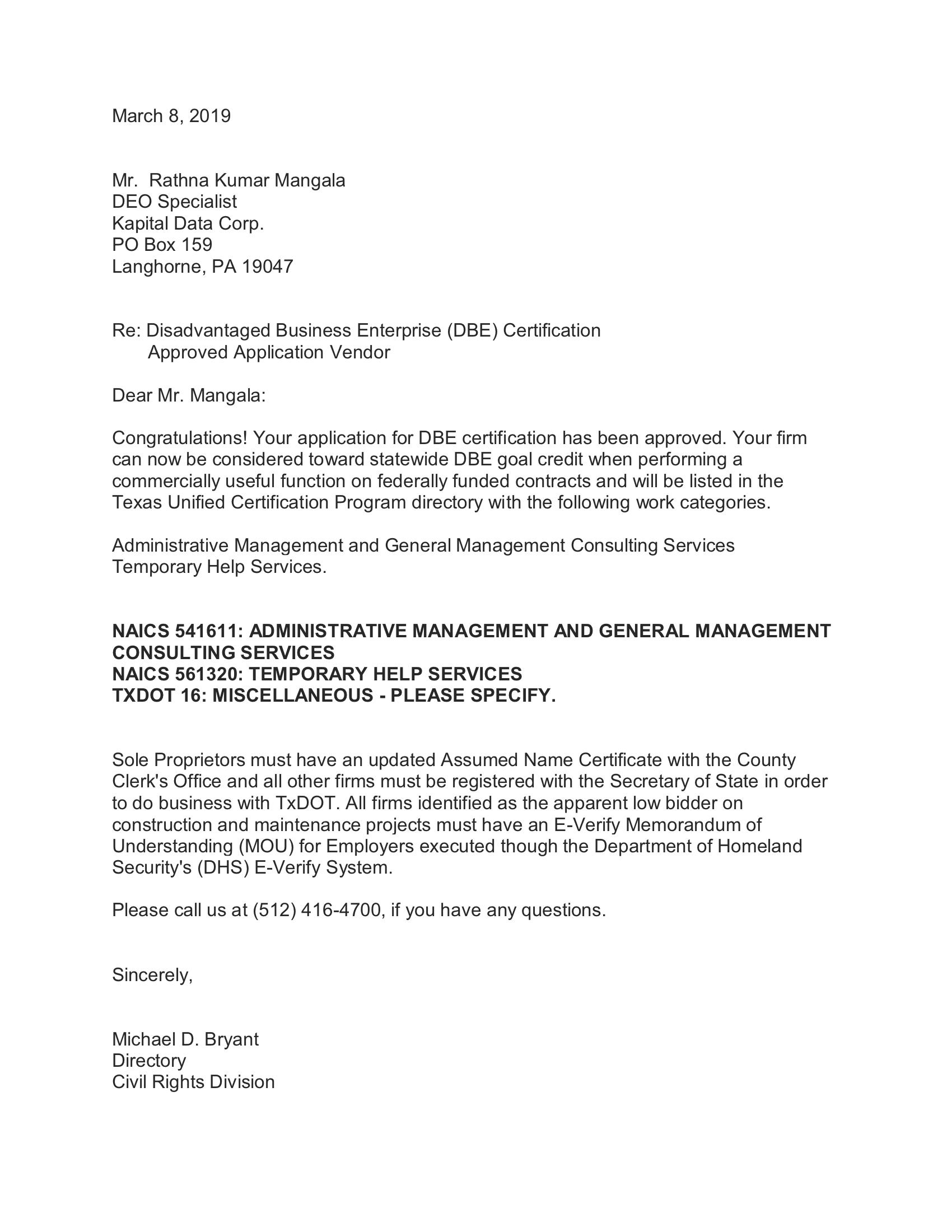 Texas DOT - DBE Certification